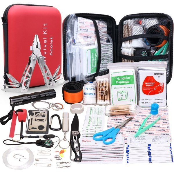 Aootek Upgraded 268 Pcs first aid kit survival Kit