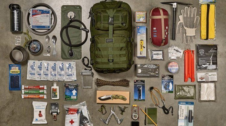 Everything that goes into a survival kit.
