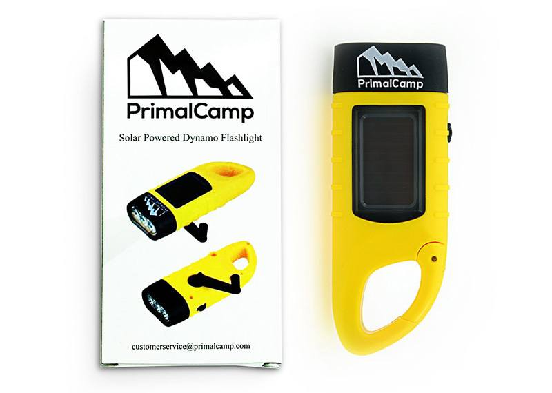 PrimalCamp Hand Crank Solar Powered Rechargeable LED Flashlight
